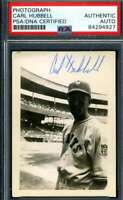 Carl Hubbell PSA DNA Coa Hand Signed Vintage Original 1950`s Photo Autograph