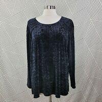 Notations Velvet Blouse Shirt Top Plus size 1X 16/18 Romantic Geometric evening