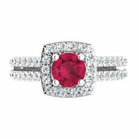 Round Cut Real Gemstone 1.55 Ct Natural Diamond Real Ruby Ring 14K White Gold