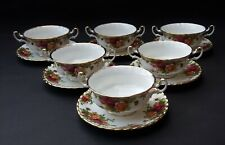 SIX BONE CHINA ROYAL ALBERT OLD COUNTRY ROSES SOUP COUPES AND SAUCERS