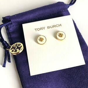 AUTH BRAND NEW Tory Burch Ivory Kira Stud Enamel Circle Earrings
