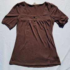 Womens Belle Du Jour Shirt Brown  Embellished Size Medium Casual Short Sleeve