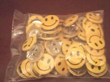 48 Metal Yellow Smile Face Mini Buttons Pin Back emoji Giveaways Party Favors