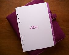 """A5 Taille A-Z adresse diviseurs """"FUCHSIA"""" #705 - s'adapte Filofax - 9 onglets"""