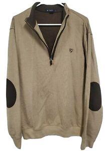 Cremieux Men's Sweater Tan Elbow Patches Sz XL Pullover Thick Soft Cotton 38