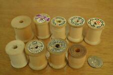 "9 Vintage Medium Sewing Thread Spools, About 1.56"" Tall x 1.25"" Diameter, M43"