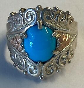 Beautiful CCO Black Hills Gold 12K Sterling Silver Turquoise Ring