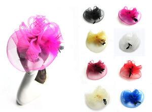 Big Net Veil Flower Fascinator Feather Headdress Brooch Hair Clip Hat Decor
