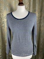 LAURA ASHLEY Top T Shirt 16 Stripe Cotton Blue/Grey Casual Long Sleeves