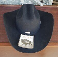 Stetson Western Buffalo Fur 3X Hat 7 1/4 12 Bark Great Plains Vtg