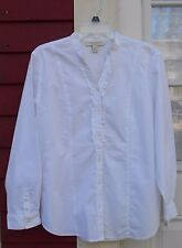 """APPLESEED'S White Long Sleeved V Neck Ruffled Button Cotton Shirt PL (44"""") EUC"""