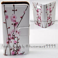 For Apple iPhone Series Case - Cherry Blossom Print Flip Wallet Phone Case Cover