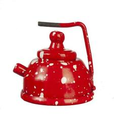 Dolls House Red Spot Kettle Metal Kitchen Accessory Miniature 1:12 Scale