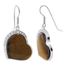 925 Silver Heart Shape Tiger Eye & Round CZ 16mm Dangle Earrings #TAES013
