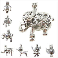 8pcs Mixed Luck Elephant Locket Pearl Cage Pendant for Necklace Jewelry Making