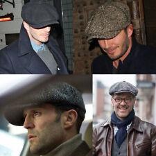 Peaky Blinders Hat Newsboy Flat Cap Herringbone Tweed Wool Baker Boy Gatsby Cap~