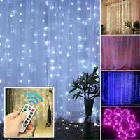3x3m 300LED Curtain Fairy Lights USB Xmas Party Wedding String Light Home 8 Mode
