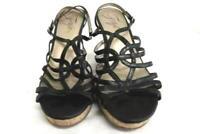 Women's Fergie Open Toe Wedge Sandals Heels Black Leather Size 8.5