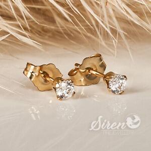 Zirkonia Brilliantschliff Ohrstecker  3mm ygf 14k Gold 585 Ohrringe