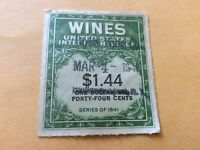Vintage:Used U.S. Internal Revenue Wines Stamp series of 1941