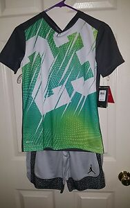 Nike Air Jordan Youth Dri- Fit 2 PC Outfit T-Shirt & Shorts Elephant Youth M NWT