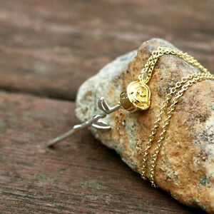 Two Tone Rose Flower Pendant Sterling Silver 925 , Gold Vermeil Chain