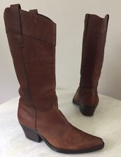 Guess by Marciano Brown Leather Pull On Western Cowboy Boots Women's Size 6 M