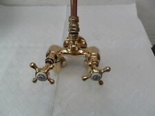 BRASS ANTIQUE ORIGINAL RECLAIMED WALL MOUNTED SHOWER UNIT TAPS OLD TAPS