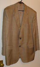 Brooks Brothers Golden Fleece Gold Houndstooth Plaid Wool & Silk Blazer Size 45L