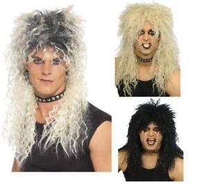 80s Hard Rocker Wig Mens Superstar Rock Star Mullet Fancy Dress Blonde Brown Bla