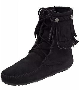 New Minnetonka 629 Double Fringe Tramper Boots Black, US 6M (Fits Size 6 & 6.5)