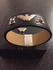 emporio armani mens leather bracelet