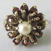 Vintage 9ct yellow gold multi garnet & pearl round flower cluster ring size N
