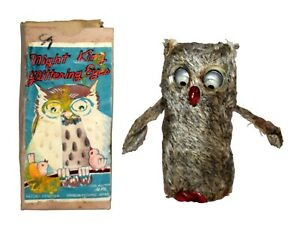 Rare Boxed Occupied Japan Windup Owl by Alps - Celluloid, Cloth, Pressed Card