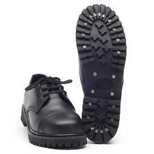 3 Loch Lederschuhe mit Stahlkappe schwarz Halbschuhe Gothic Schuhe Profilsohle
