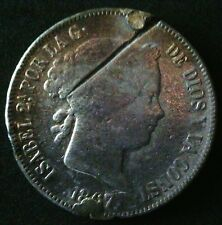 2 ESCUDOS 1867 ISABEL II, REPAIRED HOLE with a bolo hack on the obverse(front)!!
