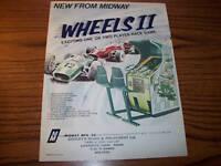 1975 MIDWAY WHEELS 2 VINTAGE VIDEO GAME FLYER BROCHURE