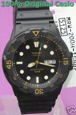 MRW-200H-1E Casio Watch 100M Date Day Display Black Gold Ahalog Plastic Band New