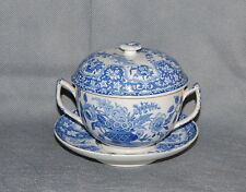 Antique English Spode Transferware Pottery Filigree Pattern Broth Pot Lid Stand