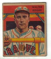 1935 Diamond Stars baseball card #25 Walter Berger, Boston Braves VG+