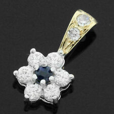 9ct Gold Sapphire Flower Pendant surrounded by cubic zirconias - BOXED VINTAGE