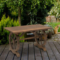 Outdoor Dining Table Patio Display Desk Natural Fir Wood Water-Resistant
