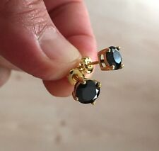 Mens Ladies 14K Gold Filled Black Lab Diamond Screw Back Round Stud Earring 4mm