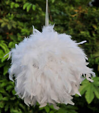 12 Inch Feather Pom Poms Kissing Ball Decorate Ball Chandelle Ball-White