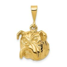 14K Yellow Gold Solid & Polished Open - Backed Bulldog Pendant/Charm 4.04 Gms
