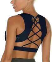 icyzone Strappy Sports Bra for Women - Sexy Gym Workout Yoga, Navy, Size Medium