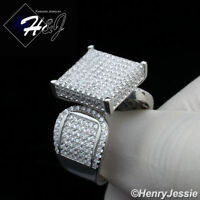 WOMEN 925 STERLING SILVER ICED OUT BLING 15MM ENGAGEMENT RING SIZE 6-9*SR112