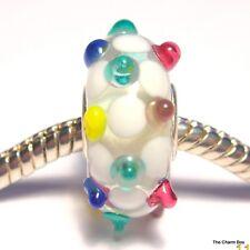 Clear Glass, White/Multicolour spots Murano Glass European Bracelet Charm Bead