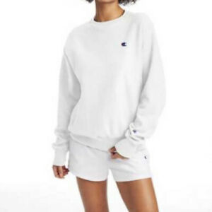 Champion Reverse Weave Crew Neck Sweatshirt in White XXL
