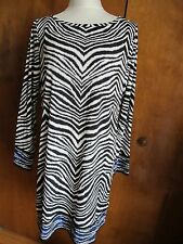 Michael Kors women's black/white/blue boat neck jersey shift dress Large NWT